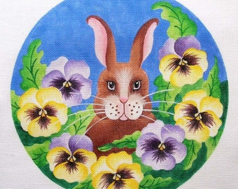 Bunny in Pansies Needlepoint  Jody Designs