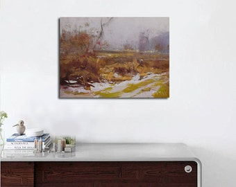 Plein air painting, Contemporary landscape painting, Modern art landscape oil painting, Nature original artwork canvas ready for hanging