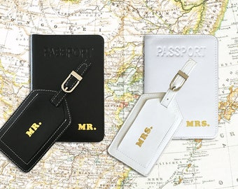Mr and Mrs Passport Cover and Luggage Tag Set of 2, Destination Wedding Gift, Anniversary Gift, Passport Holder, Luggage Tags Wedding