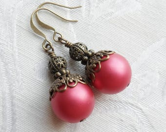 Sale- Cranberry Frost, Vintage Bead Earrings with Brass Filigree Bead