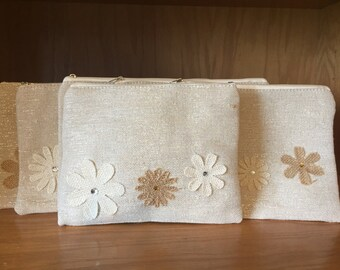 Bridesmaid Clutch Linen Set of 6 - Wedding - Brisesmaids