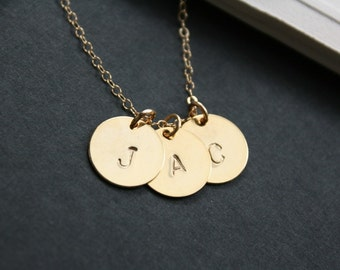 All Gold Filled Customized Initial Necklace - Three disks, engraved personalized necklace, friendship necklace, birthday Mothers day gift