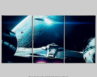 USS Enterprise vs USS Vengeance (Star Trek - Into Darkness) Stretch Canvas Triptych Print (Signed and Dated)