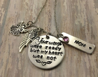 memorial necklace - grief jewelry- your wings were ready but my heart was not- loss of mom - loss of dad - bereavement - sorrow gift - gift