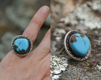 Vintage Turquoise Pinky Ring Bright Blue Arizona Turquoise in Sterling Silver Navajo Ring