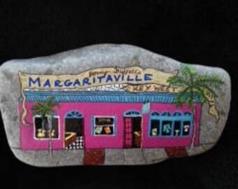 Margaritaville Bar, Key West, Florida Hand Painted Rock