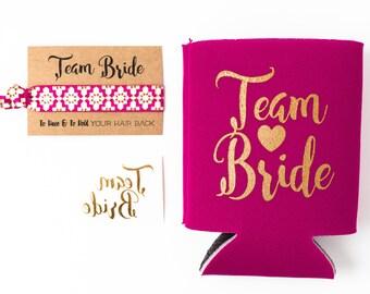 Raspberry + Gold Team Bride Bachelorette Gift Set   Metallic Gold Tattoo, Hair Tie + Drink Cooler   Bachelorette Party Favor
