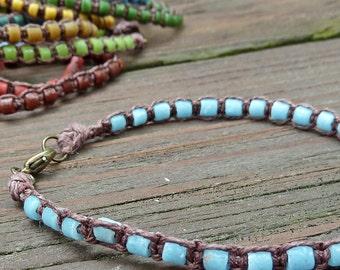 Sky Blue Stacking Bracelet - Sky Blue Recycled Glass Beads, Brown Hemp Macrame Bracelet