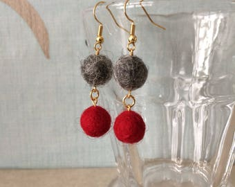 Red and grey wool felted pom pom earrings