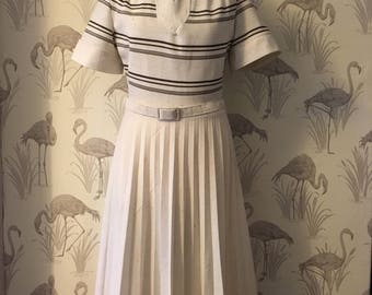 1970's pleated vintage dress, retro mad men style, big collars, pleated skirt, cream and brown, matching belt