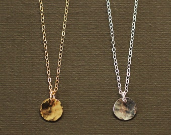 Tiny Disc Necklace - Hand Hammered - 14K Gold or Sterling Silver