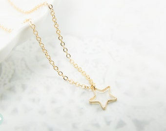 Star necklace, gold star necklace, star charm necklace,cute charm necklace,gold charm necklace, gold necklace,cute necklace, dainty necklace