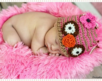 Child Hat CROCHET PATTERN in 4 sizes 0-3 years, OWL Striped Beanie
