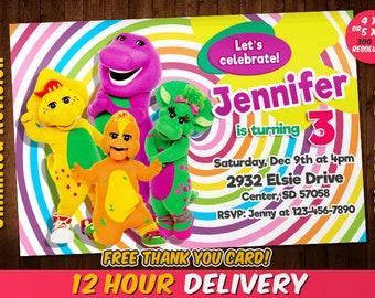Barney birthday invitation Etsy