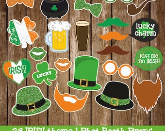 Irish, St. Patrick's Day Photo Booth Props, instant download files, PDF, 23 props