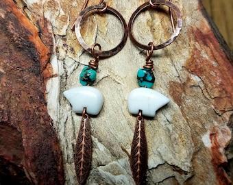 Copper Hoop Bear Earrings