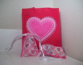 5 Mini Valentine Treat Bags Drawstring 2.5 x 3.75 Set of 5