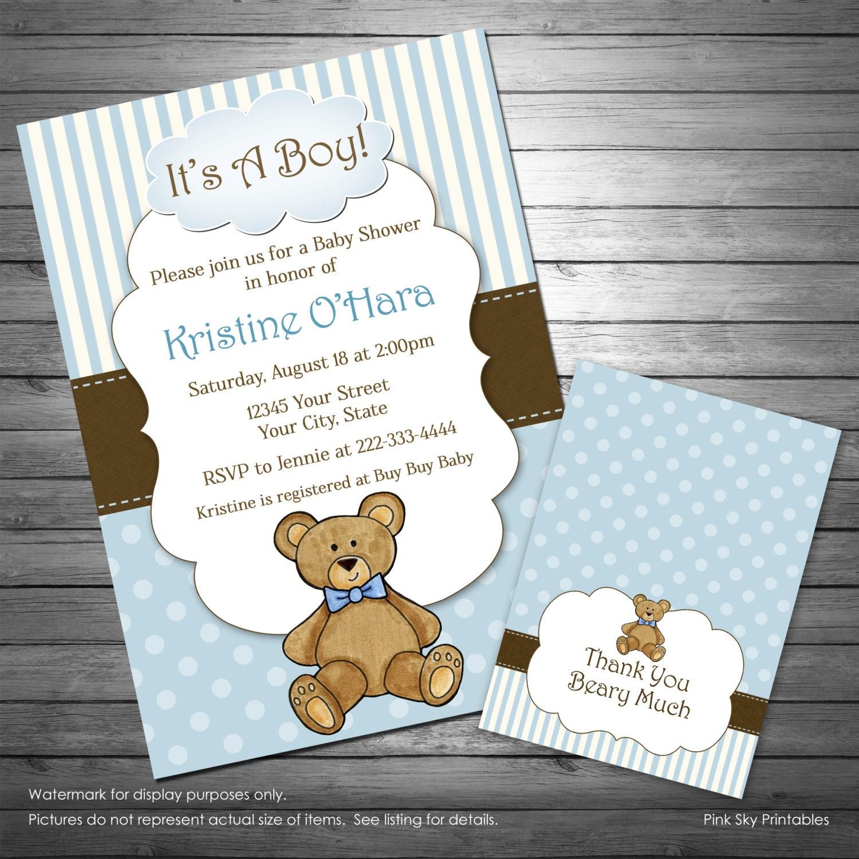 Boy teddy bear baby shower invitation teddy bear thank you zoom filmwisefo Image collections