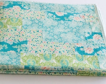 Handmade Quilts, Lakehouse Lifestyle, Summer Quilt, Sea Glass Quilt, Green and Blue Floral Strip Quilt, Throw Size Blanket