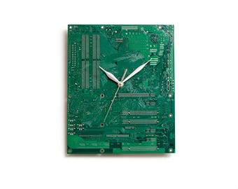 Dark Green Large Wall Clock, Circuit Board Clock, Computer Clock, Modern Clock, Geek Wall Clock, Boyfriend Gift, Husband Gift, Geek Gift