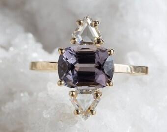 One of a Kind Lavender Sapphire + Geometric Diamond Ring
