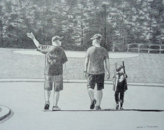 Custom Sketch Drawing Original Pencil Art from your special photo 11 x 14 including mat