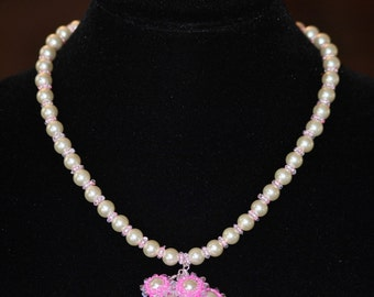 Pearl Necklace - Pink pearl necklace - Hand beaded pink pearl necklace - unique gift - sterling silver