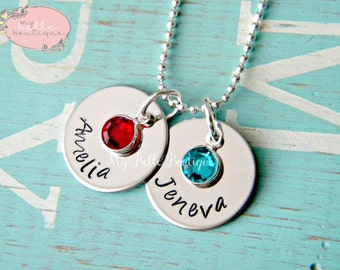 Personalized Hand Stamped Double Disc Names and Birthstones Necklace