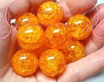 20mm Orange Crackle Beads, Chunky Beads, Bubblegum Beads, Gumball Beads, Chunky Jewelry Beads, Acrylic, Gum Ball Bead, Large Bead