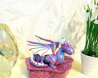Dragon Statue, Dragon Box, Trinket Box, Jewelry Box, Keepsake Box, Fimo Box, Polymer Clay Box, Storage Box, Gift Box, Dragon Ornament