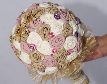 Wedding Bouquet, bridal bouquet, fabric bouquet, Brooch bouquet