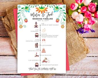 Mexican Wedding Schedule Timeline, wedding itinerary, Fiesta wedding program timeline with icons, diy wedding program