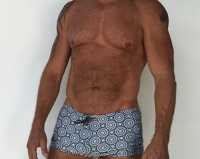 Featured listing image: Silver Grey Geometric Circle Print Key  Swimshort with Front Drawstring
