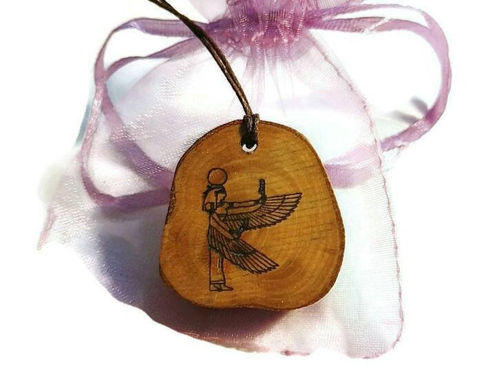 Nekhbet Egyptian Winged  Vulture Goddess Bespoke Necklace Wooden Charm Handmade Personalised Charms Wood Hand made Jewelry