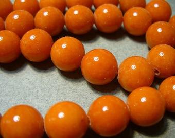 Jade Beads Gemstone Orange Round 10mm