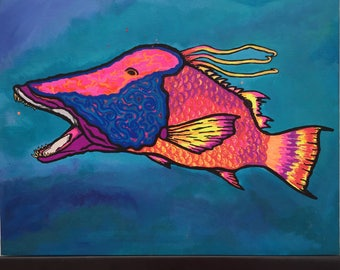 Tropical Neon Hand Painted Hogfish Snapper