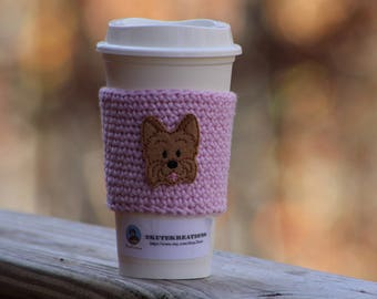 Coffee sleeve, Coffee cozy, Coffee cup sleeve, Yorkie Coffee cozy, mothers day gift, Yorkie lover gift, gift mom gift, cozies for cup