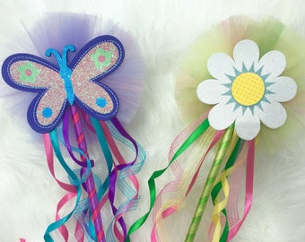 Flower power wand/ butterfly wand/ costume wand/ tulle wands