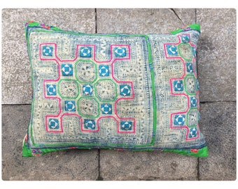 Vintage Handmade Tribal Hmong embroidered batik cotton pillow cover
