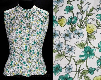 Size 6 McMullen Blouse - Strawberry Print Fine Cotton Tailored Top - Strawberries & Flowers Sleeveless 50s Shirt - 1950s Deadstock - 49039