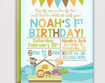 Noah's Ark Birthday Invitation