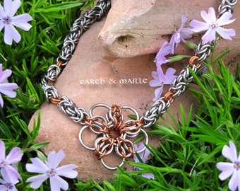 Flower Byzantine Stainless Steel Copper Chainmail Necklace, Chainmaille Necklace, Maille, Renaissance, Medieval, Boho, Spring