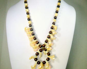 SALE, Long Wood and SeaShell Pendant Necklace, 1960s, Creamy White and Brown Beads and Shards, For a Mermaid, Surfer Beach Gal