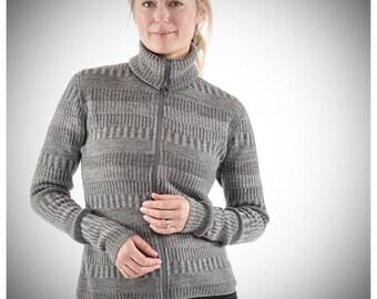 Organic Woolen Cardigan with Two-way Zipper Grey