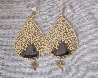 Earrings Black ceramic dove on print