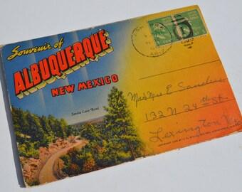 Antique Albuquerque, New Mexico Souvenir Accordian Postcard