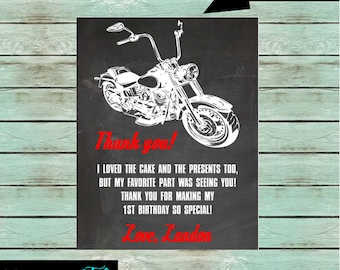 Motorcycle Bike Birthday Party Thank You Note Cards ~ We Print and Mail to You