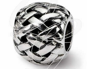 Sterling Silver Reflections Basket weave Bali Bead (rb - 1618)