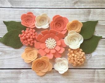 Handmade Wool Felt Flowers, Papaya, Apricot and Ivory