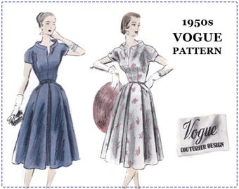 1950s Vogue Couturier Design Sewing Pattern - Vogue 802 - One Piece Day Dress, Box Pleat, Full Skirt - Size 16 Bust 34 - Sew-In Vogue Label